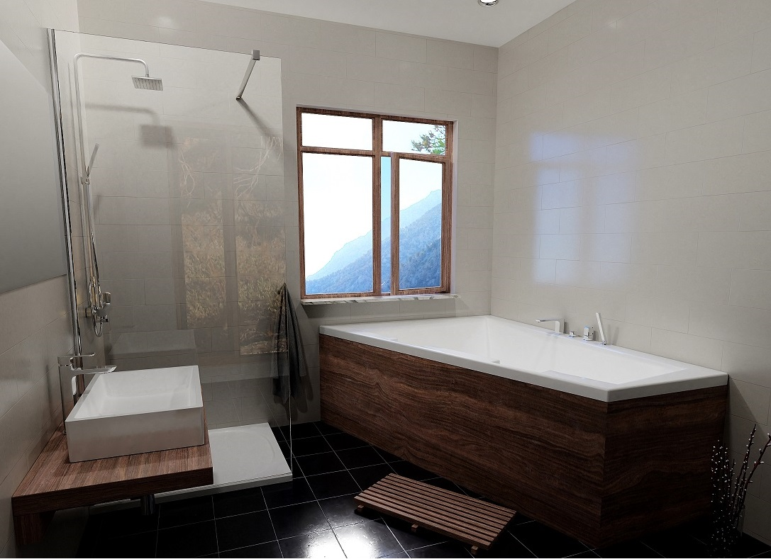 Stylowa łazienka Z Wanną Riho I Kabiną Typu Walk In